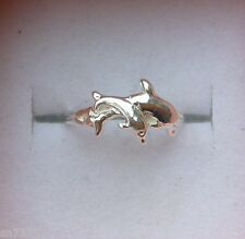 Two jumping dolphins toe ring genuine .925 sterling silver