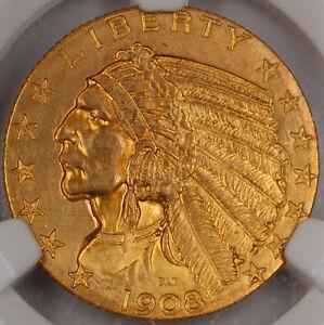 1908 Indian $5 Half Eagle Gold Coin, NGC UNC Det. (Improperly Cleaned) *Gem* DGH