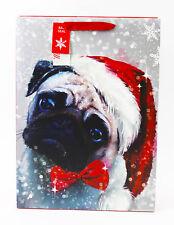 Merry Christmas Gift Bag Large Luxury Quality Wrap Handles Tag Traditional Pug