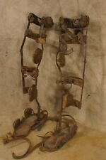 Antique Wrought Iron Leather Child's Polio Leg Braces Medical Oddity
