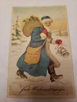 Merry Christmas Greetings Santa Claus st. Nicholas BLUE Robe Postcard Germany