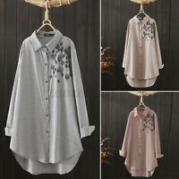 ZANZEA Women Buttons Down Embroidery Shirt Tops Loose Striped Long Sleeve Blouse