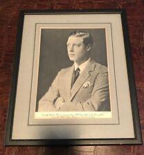 RARE Prince Of Wales / King Edward VIII Framed & Matted Photograph November 1932