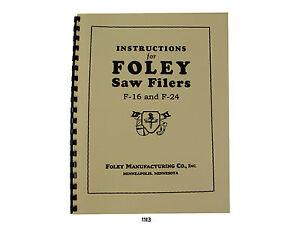 Foley Belsaw  F16 & F24 Automatic Saw Filer & Parts List  Manual *1113