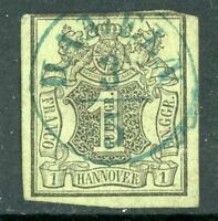 Germany 1851 Hannover 1ggr Grey Green SG # 2 VFU  F970