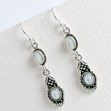 925 Sterling Silver Bohemian Style Dangle Hook Earrings W. Mother of Pearl