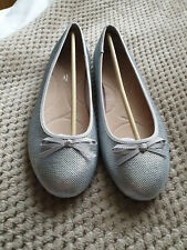Evans Silver Sequin Ballerina Pumps Flats Shoes BNWT - Size 6EE - Extra Wide Fit