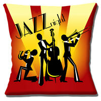 "NEW Vintage Retro Jazz Night Silhouette Trio Yellow Red 16"" Pillow Cushion Cover"