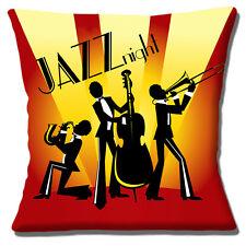 """NUOVO Retrò Vintage Jazz NOTTE SILHOUETTE TRIO GIALLO ROSSO 16 """"Cuscino Coprire"""