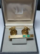 Vintage Dunhill, Gold Plated with Green Marble, Cufflinks and Tie Clip - box