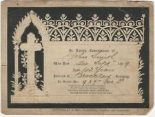 1899 Embossed Black & Cream Mourning Card with a Cross & Gothic Design