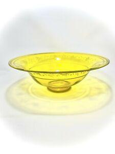 **Carter Era Steuben Bristol Yellow Cut Glass Bowl Signed Sinclaire, c.1920s**