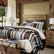 Lake House Blue Walnut Brown Rustic Striped Floral Accents Quilt Set 3pc - King