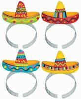 FIESTA SOMBRERO HEADBAND PACK OF 8 BIRTHDAY PARTY SUPPLIES