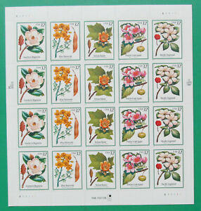 One (1) Sheet of 1998 FLOWERING TREES 32¢ US USA Postage Stamps. Sc # 3193-3197