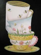 Carol Wilson Happy Birthday Card Greeting  Teacups Tea Flowers Embossed Cups Cup