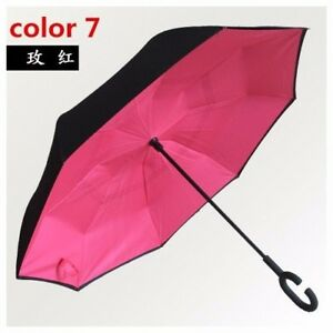 Reverse Folding Inverted Umbrella Double Layer Wind Proof UV Proof  Inside out