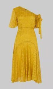 Whistles Yellow Ochre Silk & Viscose Devore Dress UK 10 New