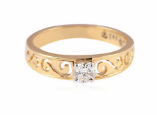 0.32 Cts Round Brilliant Cut Diamond Solitaire Unisex Ring In Certified 18K Gold