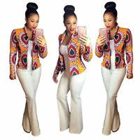 Fashion Women Fall Dashiki Long Sleeve African Print Short Casual Jacket Coat