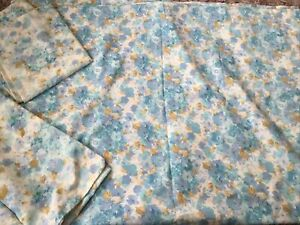 Vintage Pretty Blue Floral Sheet And 2 Pillowcases