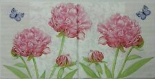 PEONIES GARDEN SWEET PINK 2 single LUNCH SIZE paper napkins for decoupage 3-ply