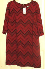 WOMENS CATHERINES DRESS PLUS 2X NWT RED BLACK  MULTI GORGEOUS