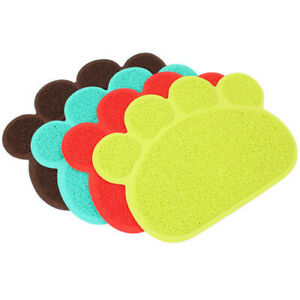 Pet Dog Puppy Cat Feeding Mat Pad Cute Paw PVC Bed Dish Bowl Food Water Feed