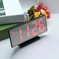 Alarm Clock LED Digital Clock Multifunction Mirror Snooze Display Time Night LCD
