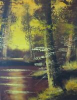 Mid Century art Painting Unframed canvas Original Signed Hudson Valley landscape
