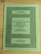 Sotheby's October 1977, Continental Furniture Works of Art Textiles