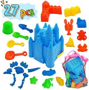 27pcs Kids Toddler Beach Sand Toys Set Castle Molds Bucket Shovel Tool Kit