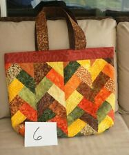 Handcrafted Quilted Patchwork Tote Bag Fall Foliage Colors