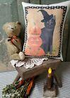 PRIMITIVE VINTAGE FOLK ART HOMESTEAD FALL PUMPKIN WITCH CAT HALLOWEEN PILLOW
