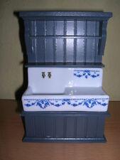 Reutter Porzellan Küchenspüle blau leer Kitchen Sink Wood blue 1:12 Puppenstube