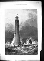 Antique Old Print 1879 Proposed Eddystone Lighthouse Birds Stormy Sea Scene