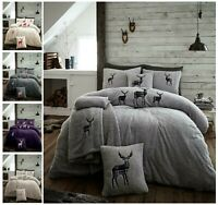 STAG EMBROIDERED TEDDY BEAR SHERPA  DUVET COVER PILLOWCASE BEDDING SET ALL SIZE