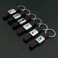 For Audi Keychain Car Black Leather Strap Key Chain Sline Rline Metal Key Holder