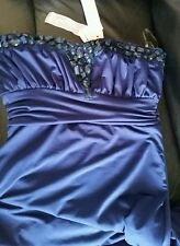BNWT Lipsy Size 14 Navy Bandeau Maxi Dress,Embellished ,Prom Party,£65, Slim