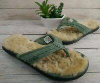 LL Bean Wicked Good Blue green Suede Lined Flip Flop Sandal Slippers Size 7 M