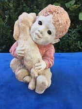 Antique Boy & Puppy Statue Sculpture Hugging Golden Retriever Dog Stone Resin