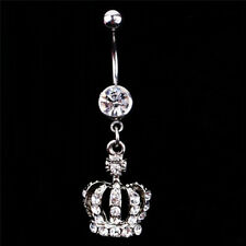 Crown Charm Rhinestone Body Piercing Jewelry Belly Button Ring Navel Jewelry  GH