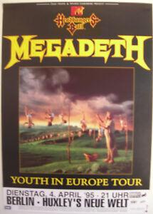 MEGADETH CONCERT TOUR POSTER 1995 YOUTHANASIA