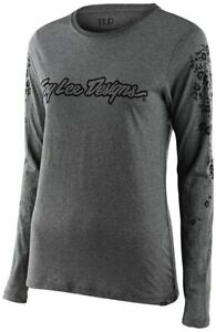 Troy Lee Designs Womens | Long Sleeve | Signature Floral T-Shirt (Gray, Small)