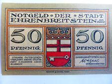 Notgeld der Stadt EHRENBREITSTEIN am Rhein, 50 Pf, 03.08.1921, Koblenz/ Coblenz