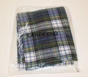 Lands End Men's Cashmere Like Touch Plaid Scarf Multi-Color