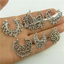 10X Vintage Flower Leaf Heart Butterfly Connector Filigree Pendant Retro Jewelry