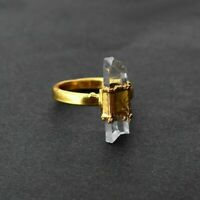 Natural Raw Crystal Gemstone Gold Plated Stackable Antique Fashion Design Ring