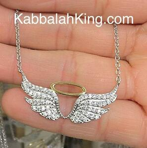 Platinum Sterling Silver White Sapphire Pave Halo Angel Wing Necklace Pendant