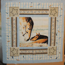 Horse and Foal Cotton pillow fabric panel